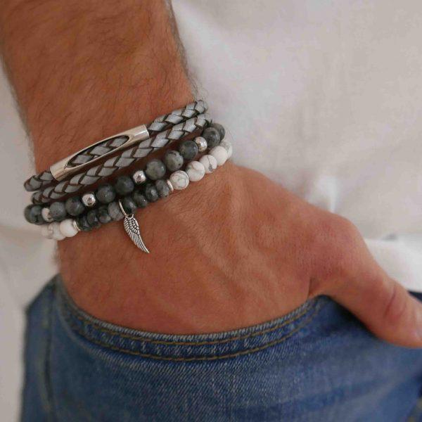 סט איתי - צמידים לגבר - צמיד עור לגבר - צמיד אבני חן לגבר - גליס תכשיטים