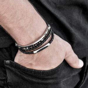 סט אביעד כסף - צמיד עור לגבר - צמיד אבני חן לגבר - תכשיטים לגבר - גליס תכשיטים