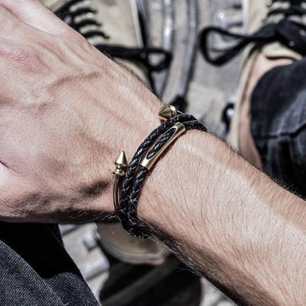 סט גבע זהב - צמיד עור לגבר - צמיד לגבר - תכשיטים לגבר - גליס תכשיטים