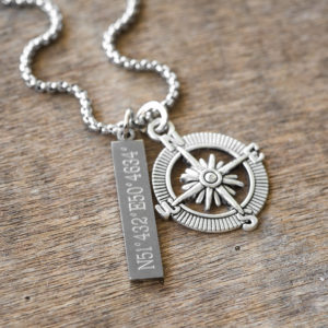 שרשרת מצפן - שרשרת חריטה אישית - שרשרת לגבר - מתנה מקורית לגבר - תכשיטים לגבר - גליס תכשיטים