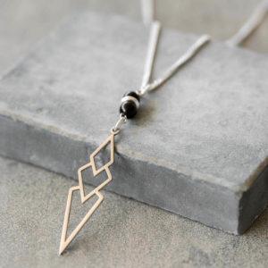 סט צמיד ושרשרת לגבר - סט גאומטרי לגבר - צמיד שחור כסף לגבר - גליס תכשיטים