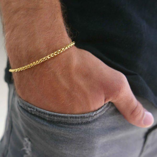 צמיד זהב לגבר - צמיד לגבר - גליס תכשיטים
