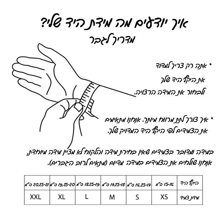 מדריך לבחירת מידה גברים עברית